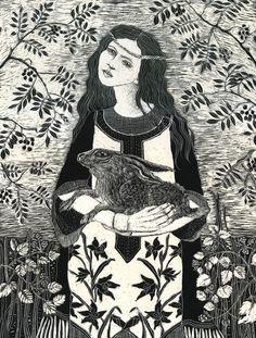 Fine Art Print of St Melangell / safe in her arms  from Original Scraperboard.