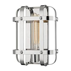 Hudson Valley Colchester Polished Nickel One Light Wall Sconce 6901 Pn Wall Light Fixtures, Modern Wall Sconces, Hudson Valley Lighting, Wall Sconce Lighting, Stairway Lighting, Fireplace Lighting, House Lighting, Metal Bands, One Light