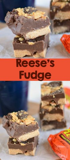 Reese's Fudge: The easiest and best fudge recipe ever! Simple ingredients come together in minutes to form a delicious peanut butter and chocolate fudge!