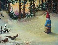 This is an original Altered Thrift Store Art painting. I created it by hand painting on top of an original oil painting that I bought from a thrift store. I matched the color palette and painted the peeing gnome onto the painting. Including the frame, the piece measures 22 1/2 x 18 1/2. The canvas measures 16 x 20. It has a wood frame. I only ship originals within the US, and shipping is included in the price. If you have any questions, please feel free to contact me. Ill be glad to...