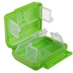 Portable 8 Cells pocket pill medication vitamin case box container green new