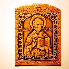 Saint Nicolas Icon Orthodox Icon Russian Birch by Studiobetula