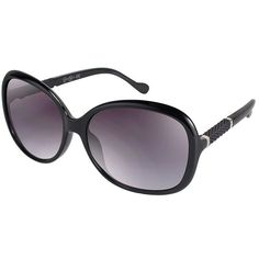 Jessica Simpson Women's 60MM Oval Sunglasses ($40) ❤ liked on Polyvore featuring accessories, eyewear, sunglasses, black, logo sunglasses, oval sunglasses, tortoiseshell sunglasses, uv protection glasses and tortoiseshell glasses