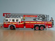 LEGO FDNY  Ladder Fire Dept, Fire Department, Lego Fire, Lego Vehicles, Lego Construction, Lego Worlds, Fire Apparatus, Lego House, Lego Projects