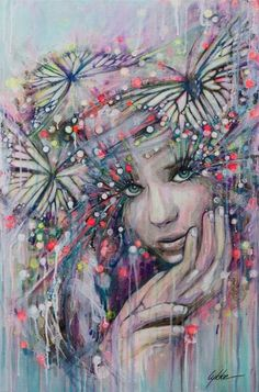 Girls face butterflies art #butterfly #art