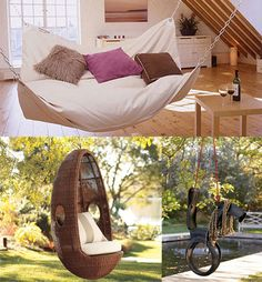 Great Outdoor and Indoor Hammock by Le Beanock, Palmetto All-Weather Wicker Hanging Egg Chair from Pottery Barn, and Giddyup! Tire Swing made of recycled tire swings.