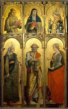 Carlo Crivelli 1430-1495. The Montefiore Triptych was reconstructed from a bigger polyptych and consists of six panels: higher order (half-length figures): Franciscan saint, Saint Clare, Saint Louis of Toulouse; Lower order (complete figures): St. Catherine of Alexandria, St. Peter the Apostle, St. Mary Magdalene. These paintings are believed to depict the most beautiful figures that Carlo Crivelli ever produced.Housed  in the Polo Museale (museum complex) of San Francesco , Montefiore…