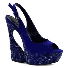The features for these heels include a faux suede upper in a slingback design with a side buckle closure, rhinestone covered platform and heel, peep toe, smooth lining, and cushioned footbed. Approximately 6 inch heels and 1 inch platforms. Sexy High Heels, Frauen In High Heels, Womens High Heels, Peep Toe Platform, Peep Toe Pumps, Wedge Heels, Shoe Boots, Shoes Heels, Blue Suede Shoes