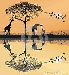 Vector illustration savana with giraffes