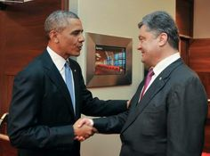 Petro Poroshenko and Barack Obama.