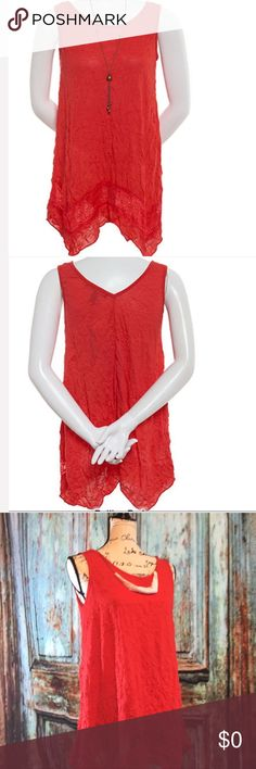 FREE Necklace Red Crinkle Sleeveless Lace Detail a cute asymmetrical hemline with a crochet style detail. You beautiful vibrant red V-neck line sleeveless, with a free necklace. French Laundry Tops Blouses