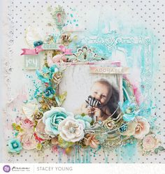 """I created this sweet layout featuring lots of Finnabair's mixed media products teamed together with the Heaven Sent 2 collection. Match made in heaven really!! I love that Finnabair products are so versatile and there is a palette to suit everyone. You don't have to create something moody and dark, you can create something soft, sweet and shabby"" ~ Stacey"