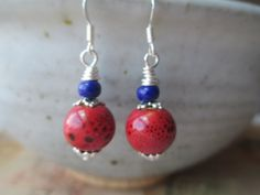 Red Earrings Ceramic Earrings Dangle Earthy by MillyLillyDesigns