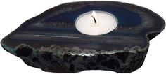 Stunning agate slab candle holder measuring at 0.98 x 5.9 x 4.33 inches (2.5 x 15 x 11 cm).