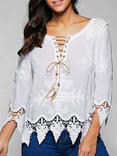 V Neck Lace Up Long Sleeve Lacing Blouse