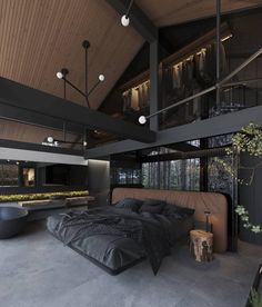 """INTERIOR PORN on Twitter: """"A forest home seems so ideal 🌲… """" Dream House Interior, Luxury Homes Dream Houses, Dream Home Design, Modern Home Interior, Luxury Homes Interior, Black Interior Design, Black Room Design, Modern Room Design, Modern Apartment Design"""