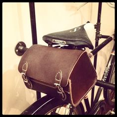 Brown leather bag for the back of vintage bicycles -- looks just like the bag my Dad had on the back of his bike