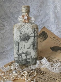 """Декоративная посуда ручной работы. Ярмарка Мастеров - ручная работа Бутылка """"Ретро""""  для вина или настойки. Handmade."""