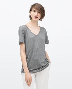 EXTRA LONG T-SHIRT-Short Sleeve-T-shirts-WOMAN | ZARA United States