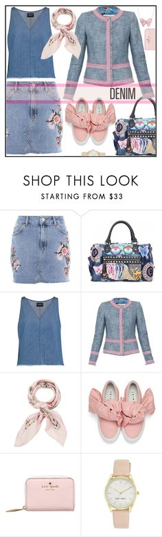 """""""pretty denim"""" by kleinwillwin ❤ liked on Polyvore featuring Topshop, W118 by Walter Baker, Manipuri, Joshua's, Kate Spade, Nine West and Luna Skye"""