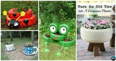 DIY Recycled Tire Planter Ideas for Your Garden: Turn old tires into beautiful planters for gardening and garden decoration.