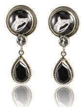 Beautiful horse head earrings with a black topaz tear drop  www.Nicker.com
