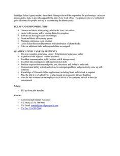 Front Desk Manager Job Posting.