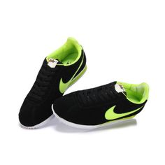 online store bcc63 be2dc Nike Classic Cortez Mens Athletic Shoes Black-Fluorescent green