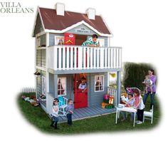 Casita de madera modelo Villa Orleans. Un verdadero duplex para los más pequeños. Outdoor playhouse VILLA ORLEANS,,,  A Palace in the garden.
