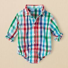 newborn - boys - checked dressy bodysuit | Children's Clothing | Kids Clothes | The Children's Place