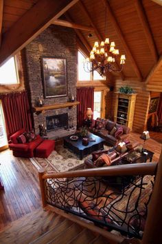 Going up or down, the stairs add an artistic element into the design of this log home.
