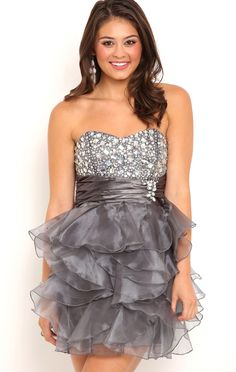Deb Shops Strapless Stone Prom Dress with Ruffle Chiffon Skirt $82.50