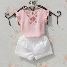 Kids blouse summer 2018 t-shirts for teenage girls large white chiffon blouses for girls flower design Tops fashion clothes for girls - Fashion - [post_tags Kids Outfits Girls, Girls Fashion Clothes, Baby Outfits, Baby Girl Fashion, Little Girl Dresses, Shirts For Girls, Kids Clothing, Top Fashion, Kids Fashion