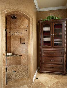 Shower Tile Design, Love the corner shower design! Dream Bathrooms, Beautiful Bathrooms, Master Bathrooms, White Bathrooms, Luxury Bathrooms, Bathroom Linen Cabinet, Linen Cabinets, Narrow Bathroom, Hall Bathroom