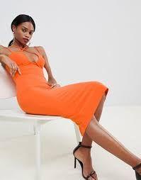 Shop ASOS DESIGN strappy underwire bodycon midi dress at ASOS. Orange Uk, Fashion Online, Latest Trends, Asos, One Shoulder, Google Search, Dresses, Design, Vestidos