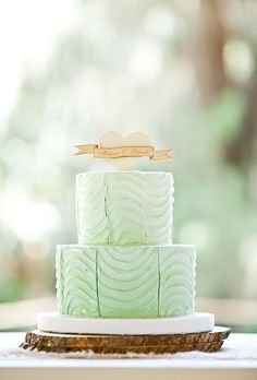 Mint Green Wedding Cake - Mint Green Wedding Cake With Heart Topper