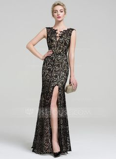 Trumpet Mermaid V-neck Floor-Length Lace Evening Dress With Beading Split  Front. Susan Lutz · gowns eb7676ec71ca