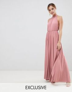 Buy ASOS DESIGN Petite Exclusive Halter Waisted Pleated Maxi Dress at ASOS. With free delivery and return options (Ts&Cs apply), online shopping has never been so easy. Get the latest trends with ASOS now. New Look Midi Dress, Petite Midi Dress, Maxi Wrap Dress, Petite Dresses, Maxi Dress With Sleeves, Lace Dress, Wine Color Bridesmaid Dress, Maxi Bridesmaid Dresses, Bridesmaids
