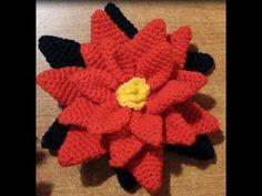 Tutorial stella di Natale all'uncinetto amigurumi - poinsettia crochet - - YouTube