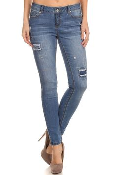 Enjean Women's Whiskered Skinny Jeans with Patch Work, Medium Wash at Amazon Women's Jeans store