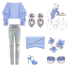 """The blue of my country"" by marifimarina ❤ liked on Polyvore featuring Rosie Assoulin, Yves Saint Laurent, Narciso Rodriguez, Erickson Beamon, Marc Jacobs and country"