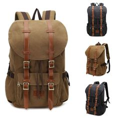 Vintage Men's Backpack Military Canvas Leather Travel Backpack Women's Large Rucksack School Bag Travel Backpacks School Bag