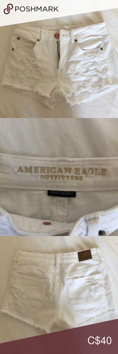 American eagle white ripped jean shorts condition as I've never worn them but I removed the tags when I bought them. Perfect for summer or vacation and super comfortable! White Ripped Jeans, Ripped Jean Shorts, White Shorts, Plus Fashion, Fashion Tips, Fashion Trends, American Eagle Outfitters Shorts, Vacation, Tags