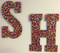 ADORABLE! Bejeweled Letters for your door or above bed! I want to do my whole monogram!