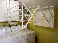Creative Laundry Room Ideas | cascading accordion laundry room clothes hanger racks designs