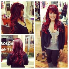 Red violet hair. Red violet base with red highlights