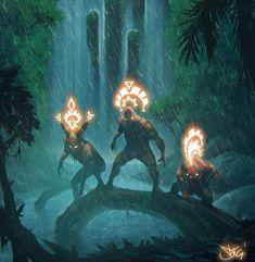 Jungle Demigods, Damian Fernandez Gomez on ArtStation at https://www.artstation.com/artwork/65Zbw