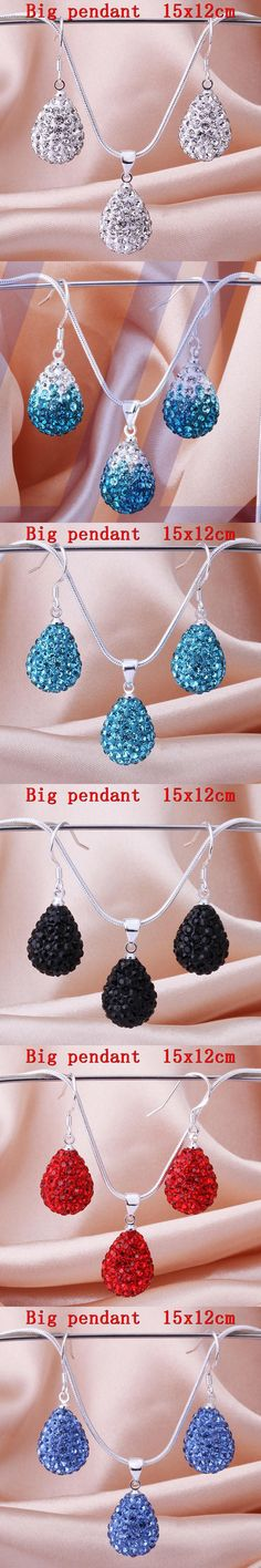 Sale 2016 disco ball beads gift crystal Jewelry set fasion tear waterdrop necklace drop earrings shamballa sets for women