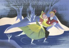 concept art for Disney's short Once Upon a Wintertime (one of my all time faves), by Mary Blair. This has always been a favorite Disney short of mine. Mary Blair, Disney Nerd, Disney Stuff, Walt Disney, Disney Films, Disney Cartoons, Disney Artists, Disney Concept Art, Disney Christmas
