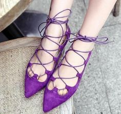 Pas cher Mode chaussures femmes sangles croisées bout pointu appartements en daim noir, Violet chaussures de gladiateurs marque femmes chaussures ballet chaussures, Acheter Chaussures sans talons pour femmes de qualité directement des fournisseurs de Chine: